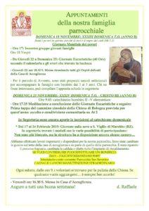 Avvisi 18 - 25 Novembre 2018 Parrocchia San Severino Bologna